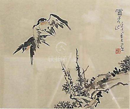 ATTRIBUTED TO PAN TIANSHOU, Two birds in flight over a landscape, ink on paper, signature and red