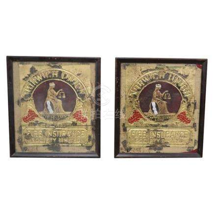 Pair of Norwich Union Fire Insurance Signs
