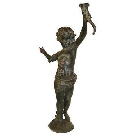 Antique Bronze Stature of A Cherub Putti