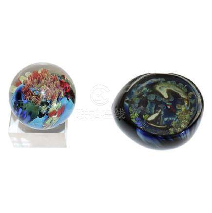 Two Josh Simpson Art Glass Paperweight's