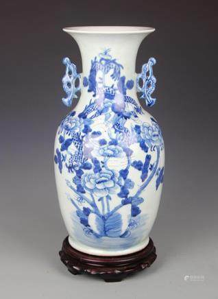 BLUE AND WHITE PEONY FLOWER PORCELAIN VASE