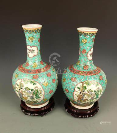 LARGE GREEN GROUND FAMILLE ROSE PORCELAIN VASE