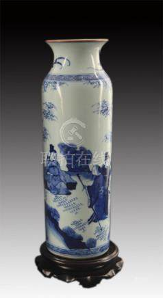 BLUE AND WHITE STORY PAINTED BAMBOO SHAPE VASE