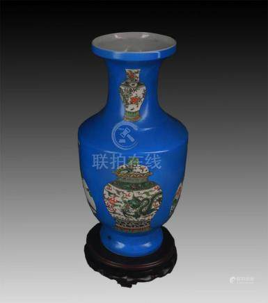 BLUE GROUND FAMILLE ROSE PORCELAIN VASE