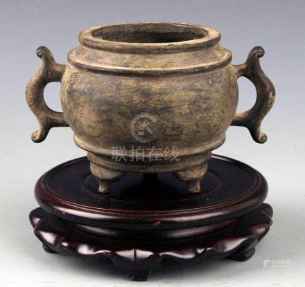 "DOUBLE ""FISH"" EAR SHAPE BRONZE CENSER"