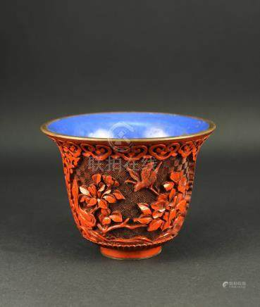 Carved Lacquerware Cup Late of Qing Dynasty