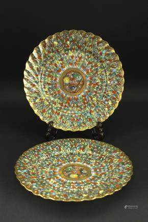 Pair of Japanese Color Gilt Plate Meiji Period