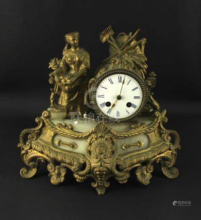 Franch Bronze Gilt Table Clock 19th Century