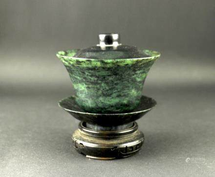 Green Jade Teacup with Cover 1960s