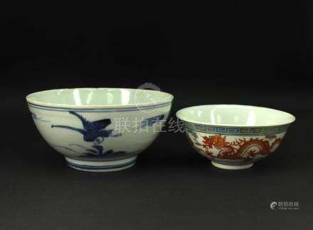 Blue&white and Famille Rose Bowl Lateof Qing Dynasty
