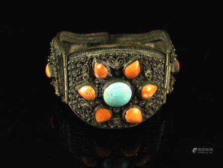 Silver Inlay with Coral and Turquoise Bracelate Late Qing