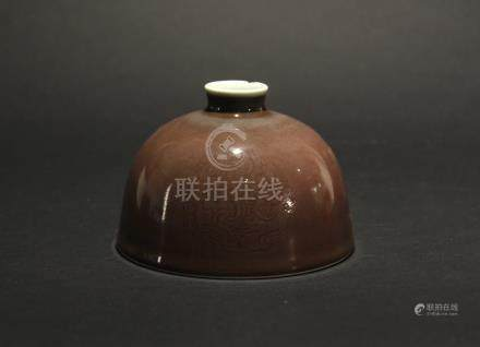 Cowpea Red Glaze Water Jar Qing Kangxi Mark
