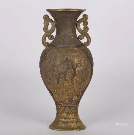 CHINESE GILT SILVER FIGURAL VASE