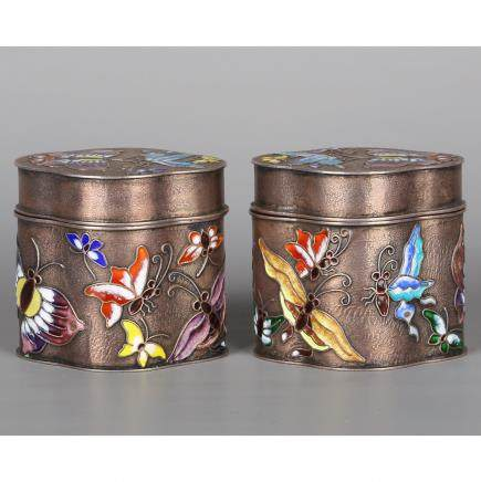 CHINESE SILVER ENAMEL COVER BOXES, PAIR