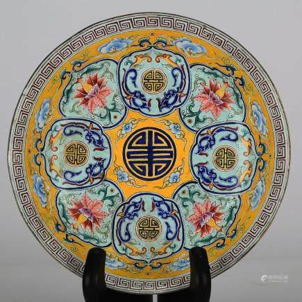 CHINESE BRONZE ENAMEL FOLIAGE PLATE