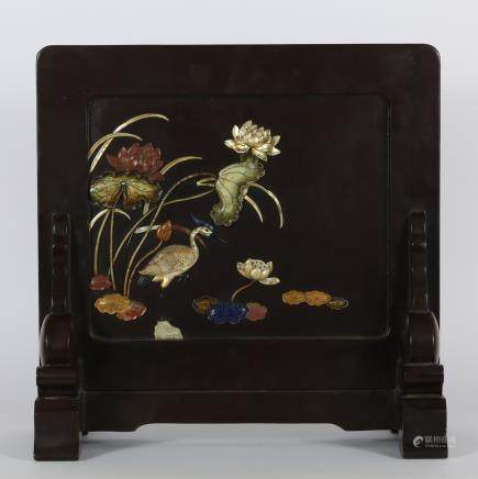CHINESE ROSEWOOD TABLE SCREEN W/ INLAID