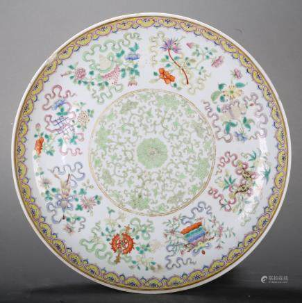 CHINESE FAMILLE ROSE PORCELAIN PLATE W/ EIGHT TREASURES