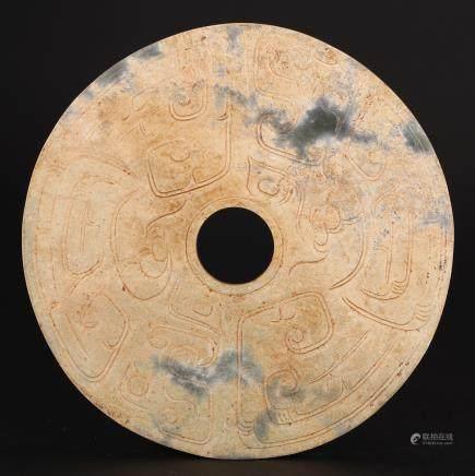 CHINESE ARCHAIC JADE BI DISK