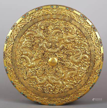 CHINESE GILT BRONZE DRAGON COVER BOX