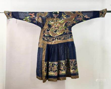 CHINESE QING DYNASTY DRAGON EMBROIDERY ROBE