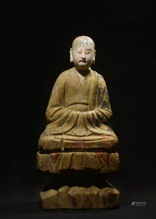 CHINESE LARGE WOOD FIGURE OF LOHAN