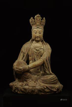 CHINESE LARGE WOOD FIGURE OF GUANYIN