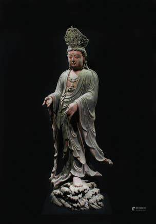 CHINESE LARGE WOODEN FIGURE OF GUANYIN
