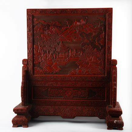 CHINESE LARGE CINNABAR LACQUER TABLE SCREEN