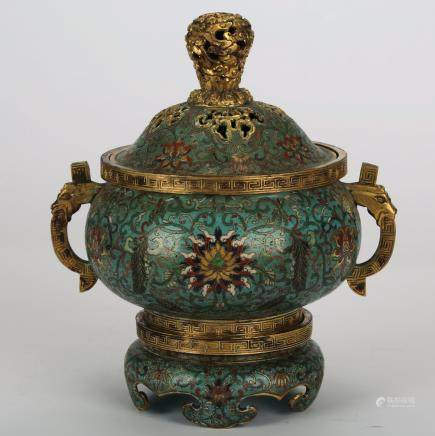 CHINESE CLOISONNE COVER CENSER W/ STAND