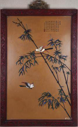 CHINESE LARGE LACQUER WOOD WALL PANEL