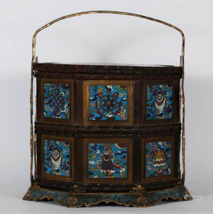 CHINESE CLOISONNE FOOD BASKET