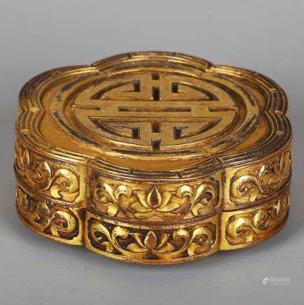 CHINESE GILT BRONZE COVER BOX
