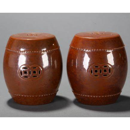 CHINESE PAIR OF SOY GLAZED MINI STOOLS