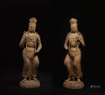 CHINESE PAIR OF LARGE WOODEN GUANYIN