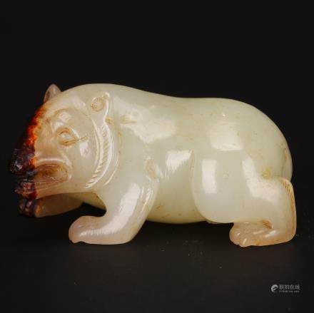 CHINESE WHITE JADE CARVED BEAR