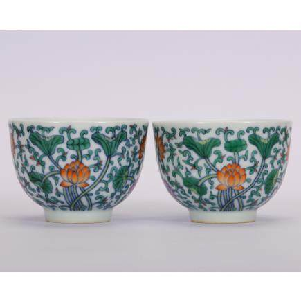 CHINESE PAIR OF DOUCAI PORCELAIN CUP
