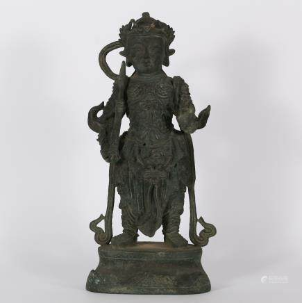 CHINESE BRONZE FIGURE OF GUARDIAN