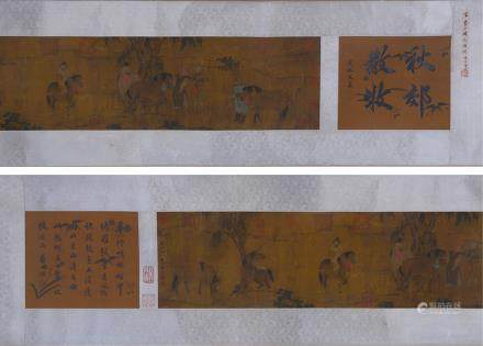 CHINESE HAND SCROLL PAINTING OF STORIES