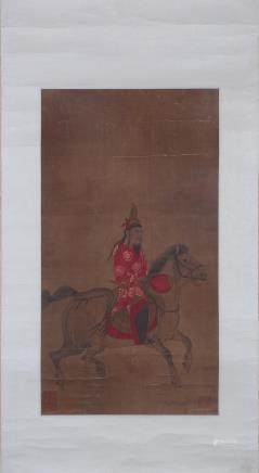 CHINESE PAINTING OF MAN RIDING HORSE