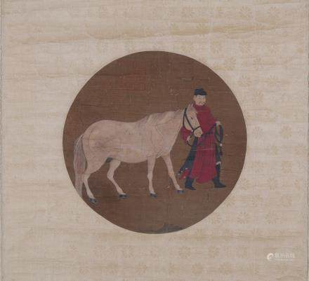 CHINESE PAINTING OF MAN AND HORSE