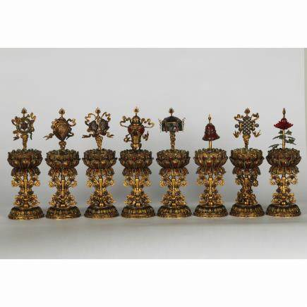 CHINESE GILT SILVER ALTAR SET, 5 PIECES