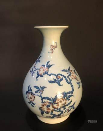 CHINESE BLUE WHITE IRON RED YUHUCHUN VASE