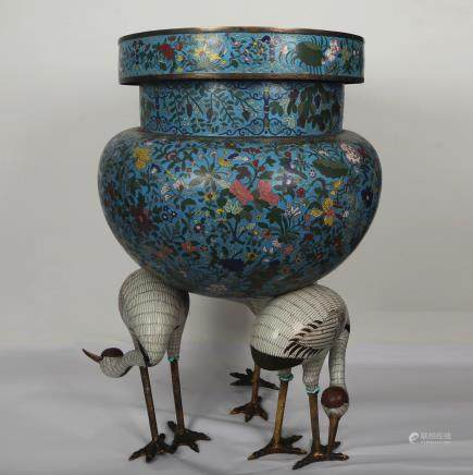 CHINESE CLOISONNE CENSER WITH CRANE FOOTINGS
