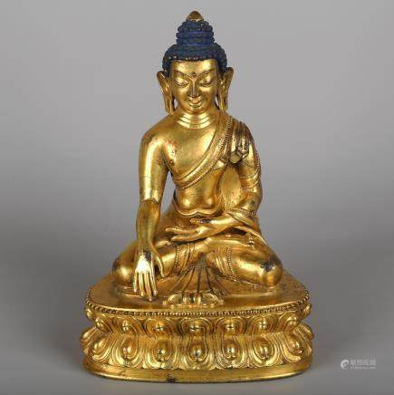 CHINESE GILT BRONZE SEATED SHAKYAMUNI