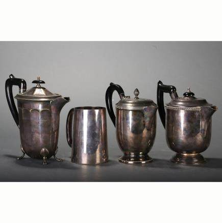 CHINESE SET OF 4 SILVER TEA POTS