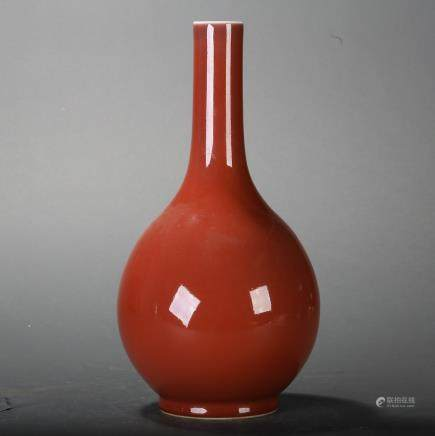CHINESE OXBLOOD GLAZED PORCELAIN VASE