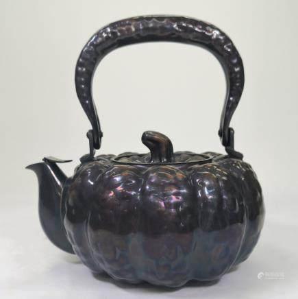 CHINESE SILVER PUMPKIN SHAPE TEA POT