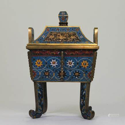 CHINESE CLOISONNE COVER CENSER FOLIAGE MOTIF