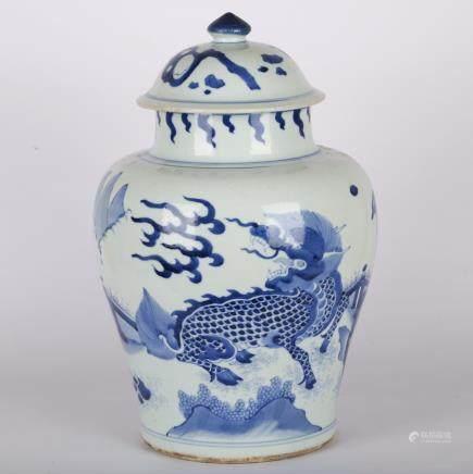 CHINESE BLUE WHITE PORCELAIN GINGER JAR