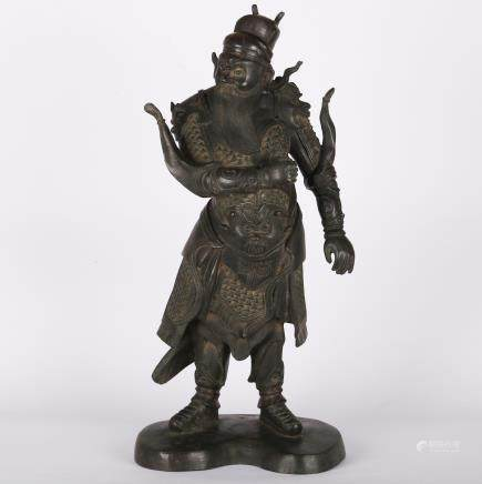 CHINESE MING DYNASTY BRONZE FIGURE OF GUARDIAN